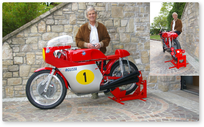 Giacomo Agostini with his Bumpstop
